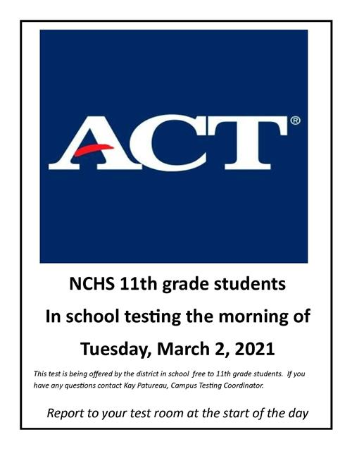 ACT Tuesday March 2nd for 11th graders